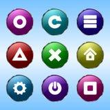 Nio färgade knappar för platser Royaltyfri Foto