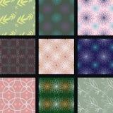 Nio färgrika sömlösa texturer vektor illustrationer