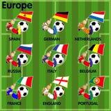Nio fotbollfotbollslag från Europa Arkivfoton