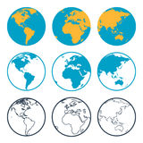 Nio globussymboler vektor illustrationer