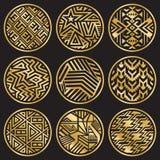 Nio guld- medaljonger för vektor på svart Royaltyfri Bild