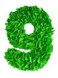nio Handgjort nummer 9 från gröna rester av papper Royaltyfri Fotografi