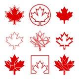 Nio kanadensiska lönnlövsymboler Royaltyfri Fotografi