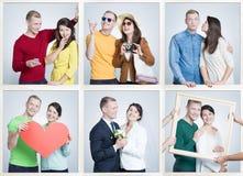 Nio lilla bilder av gladlynta ungdomari förhållandet som har gemensamma intressen fotografering för bildbyråer