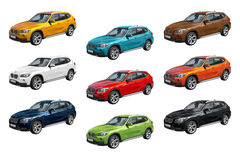 Nio moderna bilar, BMW X1 Fotografering för Bildbyråer