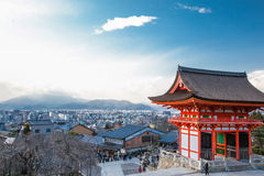 Nio-mon Gate of Kiyomizu-dera temple and Kyoto city Royalty Free Stock Image