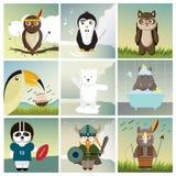 Nio olika djur som kläs som människor royaltyfri illustrationer