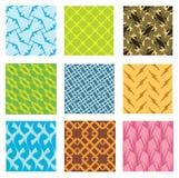 Nio olika seamless mönstrar arkivfoto