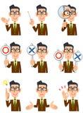 Nio olika uttryck och gester av en man royaltyfri illustrationer