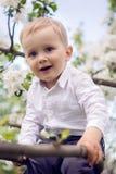 Niño pequeño rubio en una camisa blanca y pantalones azules que se sientan en árbol florecido Foto de archivo libre de regalías