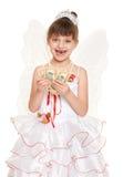 Niño perdido del diente vestido como ratoncito Pérez con los regalos y el dinero Fotografía de archivo