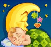 Niño que duerme en la luna Imágenes de archivo libres de regalías