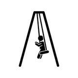 niño que juega el icono aislado silueta Foto de archivo