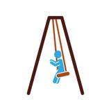 niño que juega el icono aislado silueta Fotografía de archivo