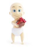 Niño que sostiene el huevo de chocolate con el arqueamiento Foto de archivo libre de regalías
