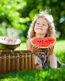 Niño que tiene comida campestre en parque del resorte Foto de archivo