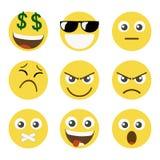nio set smileys vektor illustrationer