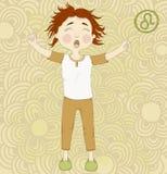 Niño soñoliento de la muestra Leo.Cute del zodiaco en pijamas Foto de archivo