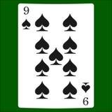 Nio spadar Card dräktsymbolsvektorn som spelar kortsymbolvektorn vektor illustrationer