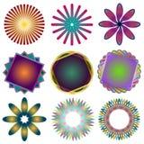 Nio Spirographs Royaltyfri Bild