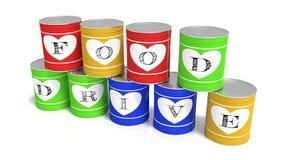Nio staplade tenn- cans i olikt färgvälgörenhetbegrepp stock illustrationer