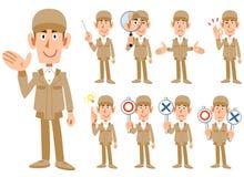 Nio uttryck av en man i arbetskläder vektor illustrationer