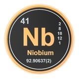 Niobium Nb chemical element. 3D rendering. Isolated on white background royalty free illustration