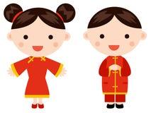 Niños chinos de los saludos del Año Nuevo Fotografía de archivo