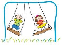 Niños de balanceo Imágenes de archivo libres de regalías