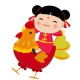 Niños del chino de la historieta Símbolo del Año Nuevo chino del gallo de 2017 rojos Foto de archivo