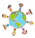 Niños del globo Día de la Tierra de los niños Vector Imagen de archivo