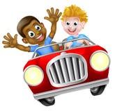 Niños del muchacho de la historieta que conducen el coche Imágenes de archivo libres de regalías