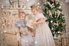 Niños en el árbol de navidad Fotos de archivo