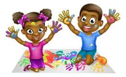 Niños negros que juegan con las pinturas Fotos de archivo libres de regalías