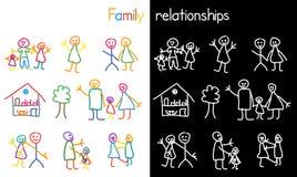 Niños que dibujan la relación de familia Fotografía de archivo