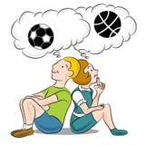 Niños que piensan en deportes Imágenes de archivo libres de regalías