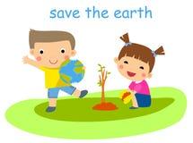 Niños que plantan el árbol Foto de archivo