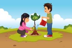Niños que plantan y que riegan un árbol Imagenes de archivo
