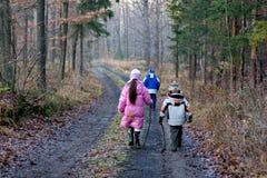 Niños que recorren en bosque del invierno Fotografía de archivo
