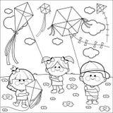Niños que vuelan la página del libro de colorear de las cometas Imagen de archivo