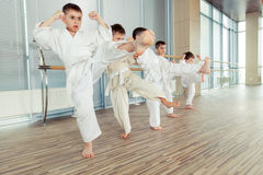 Niños éticos multi jovenes, hermosos, acertados en la posición del karate Imágenes de archivo libres de regalías