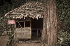 Nipa hut. At the foot of the mountain Royalty Free Stock Photos