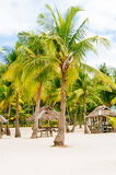 Nipa huts on the white coral sand beach surrounded with palms Royalty Free Stock Images
