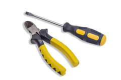 Nippers and screwdriver Royalty Free Stock Image