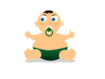 Nipple in child mouth. On isolated background royalty free illustration