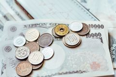 Japan Banknotes & Coins for business Royalty Free Stock Photos