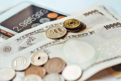 Japan Banknotes & Coins for business Royalty Free Stock Image