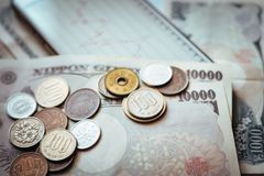 Japan Banknotes & Coins for business Stock Images
