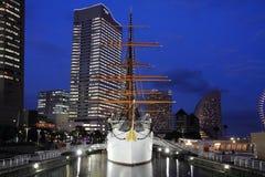 Nippon maru, sailing ship. In yokohama, Japan (night scene Royalty Free Stock Image