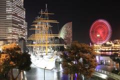 Nippon maru and Yokohama Cosmo World in Japan. Night scene Stock Image